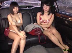 【ママ友ナンパ】高級リムジンでカーセックス!ぜんずりチ●ポでほろ酔いおもてなしされた若妻2人組!
